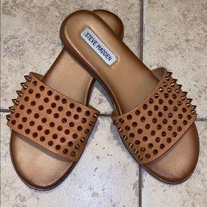 Leather Studded Slide Sandals